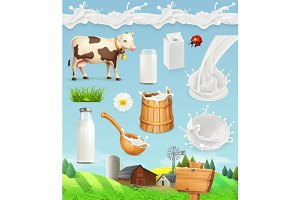 Milk and farm. 3d vector icon set