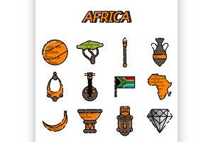 Africa flat icons set