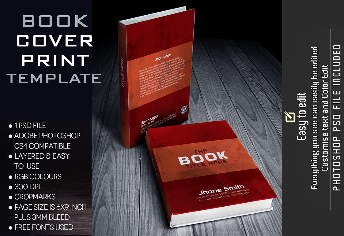 Free Creative Book Cover Template : Book cover template stationery templates creative market