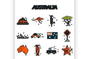Australia flat icons set