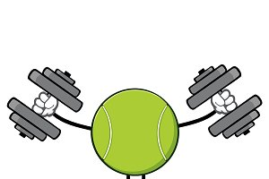 Tennis Ball Faceless With Dumbbells