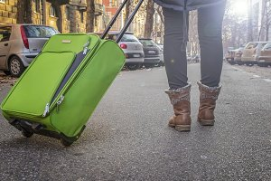 woman tourist traveling is on the streets of European cities