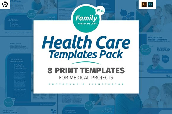 Health Care Brochure Template Pack Brochure Templates Creative - Health brochure templates