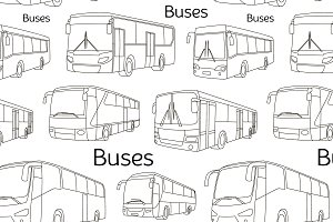Bus icons set pattern