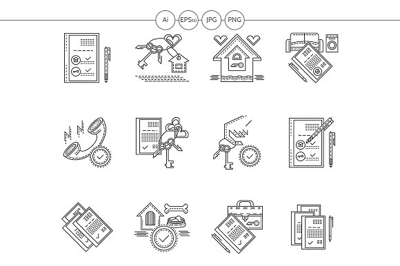 Rent of house flat line vector icons