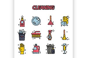 Cleaning flat icons set