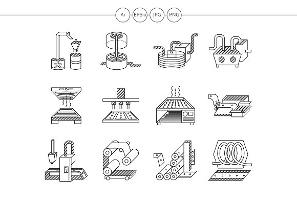 Food processing flat line icons