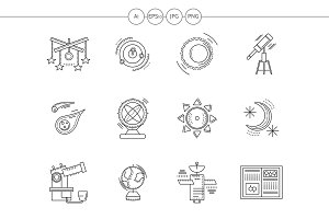 Astronomy flat line vector icons