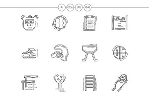 Physical culture flat line icons