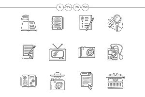 Journalism flat line vector icons