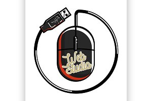 Clolor vintage web studio emblem
