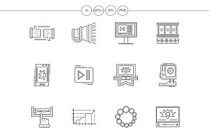 Video blogging flat line icons