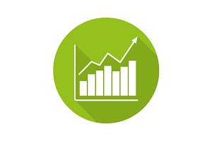 Market growth chart icon. Vector