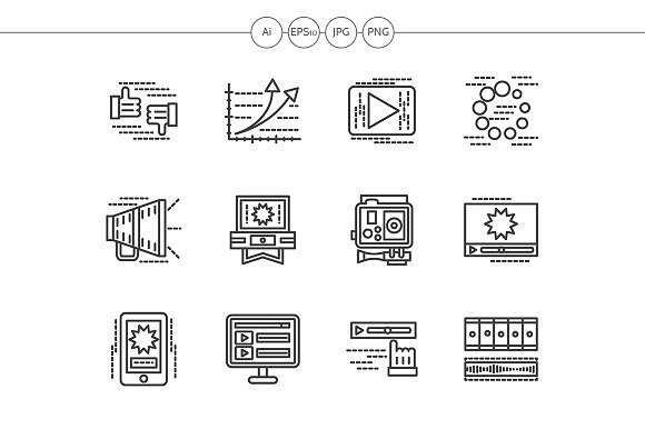 Black line media vector icons set in Icons