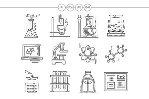 Chemistry  flat line vector icons