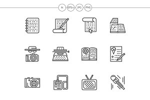 Media publishing black line icons