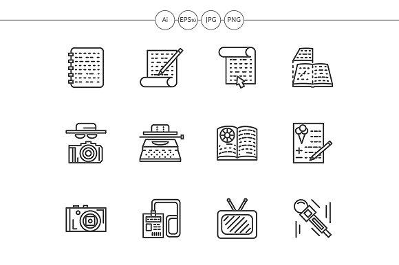 Media Publishing Black Line Icons
