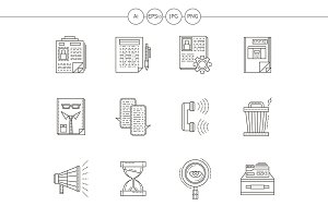 Recruiting flat line vector icons