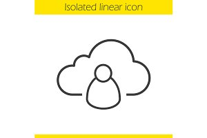 Cloud storage user icon. Vector