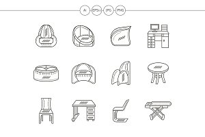 Tables and chairs flat line icons