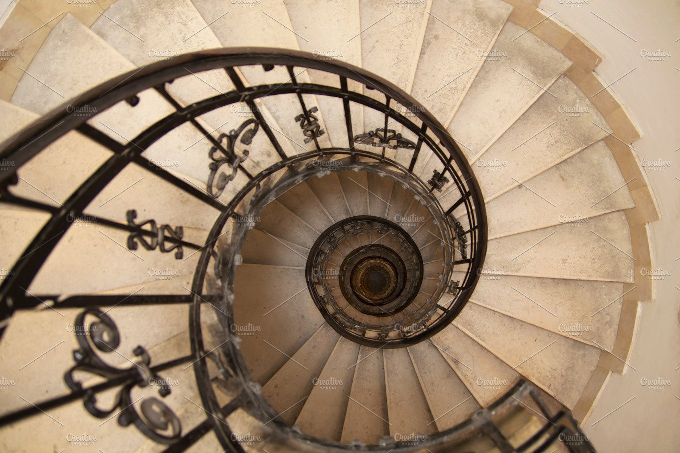 Spiral Staircase In An Old House Architecture Photos Creative Market