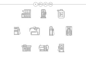 Gas station flat line vector icons