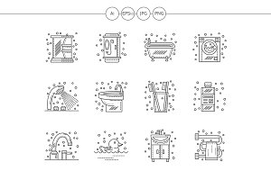 Bathroom flat line vector icons