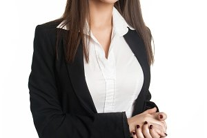 model in business suit