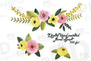 Digital Hand Painted Floral Clipart