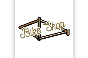 Color vintage bike shop emblem