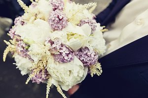 Close-up of a wedding bouquet