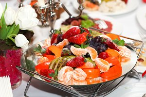 A plate with fresh fruits