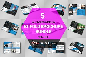 5 Clean Business Bi Fold Brochure