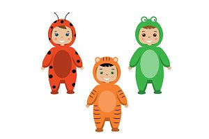 Kids. Children in animal partyoutfit