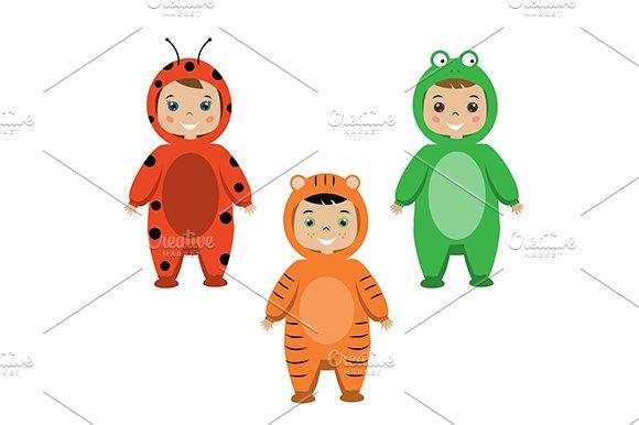 Kids. Children in animal partyoutfit