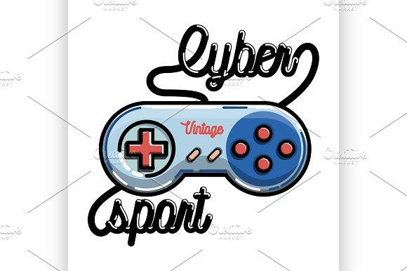Color vintage cyber sport banner