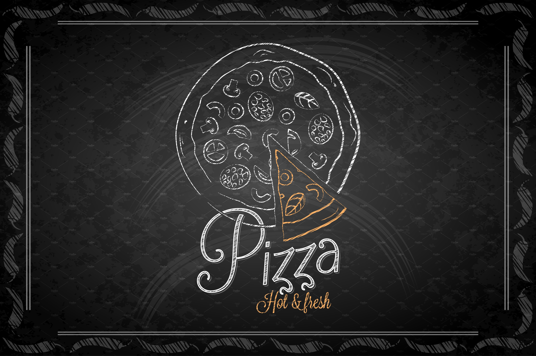 Chalkboard Frame Pizza Menu Illustrations Creative