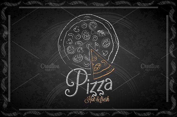 Chalkboard - frame pizza menu.