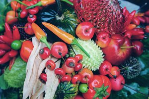 autumn fruits, vegetables and berries