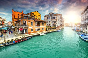 Canal with markets in Venice