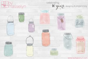 Watercolor Mason Jars (PNG Files)
