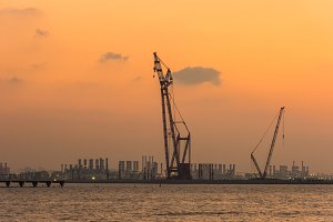 Sunset at the Dubai seaport