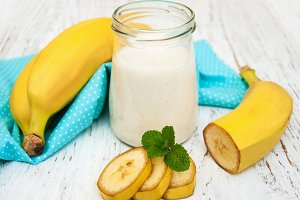 Bananas  with yogurt