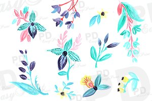 Hand Painted Mint Orchid Clipart