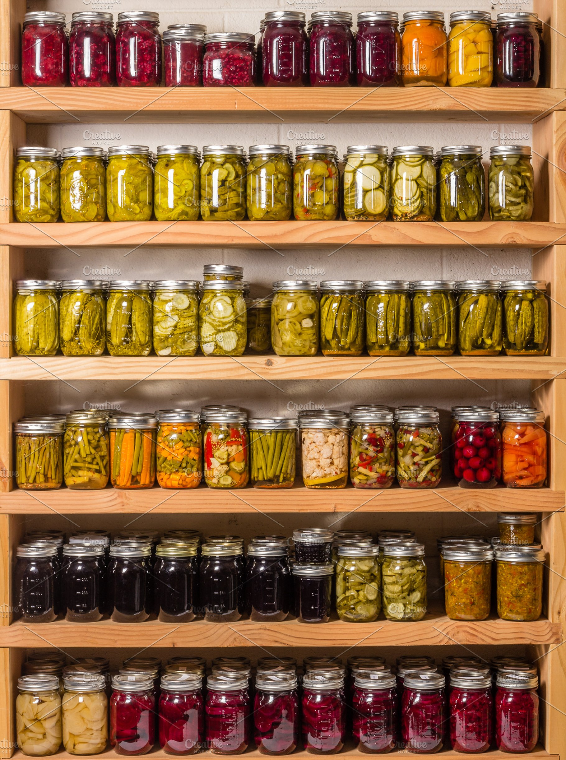 Pantry shelves with jars of food | High-Quality Food Images ...