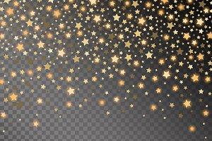 Abstract golden starfall effect