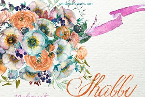 Shabby Floral Bouquet Clipart F-48