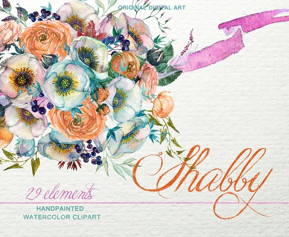 Shabby Floral Bouquet Clipart F-48 in Objects