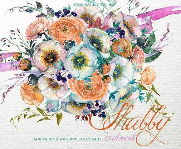 Shabby Floral Bouquet Clipart F-48 in Objects - product preview 1