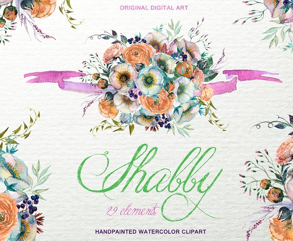Shabby Floral Bouquet Clipart F-48 in Objects - product preview 2
